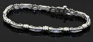14K white gold elegant high fashion 5.50CT diamond fancy link bracelet
