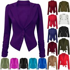 Womens Ladies 6 Buttons Ruched Sleeve Smart Slim Office Collared Blazer Jacket