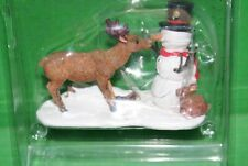 Lemax Village Snack Time Snowman Deer Figurine Accessory Christmas Holiday