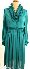 VINTAGE Ocean Jade GREEN sheer RUFFLE neckline POET sleeves floaty dress 12 14