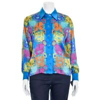 Escada Margaretha Ley Turquoise Multi Sunburst Print Silk Blouse Shirt size 38/8
