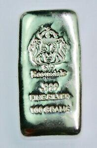 Scarce- Scottsdale Mint 100 Gram Poured Cast Silver Bar .999 lion bullion