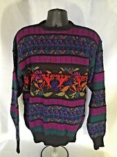 Meister Vintage 80s Ski Sweater Wool Blend Mens XL Purple and Black