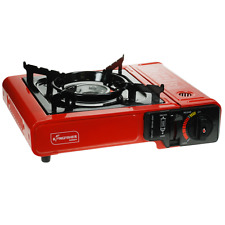 PORTABLE GAS COOKER STOVE RED CAMPING HIKING SINGLE BURNER STOVE WITH CASE NEW