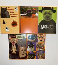 RECYCLED PAPER GREETINGS 5 LOT CAT DOG HALLOWEEN CARDS BY PAPYRUS $19.35 VALUE