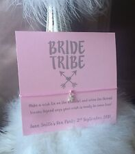 Personalised Wish String Bracelet Wedding Bride Hen Party Favours card Charm 107