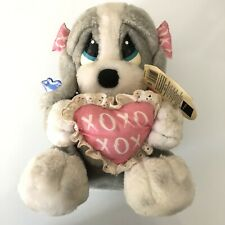 Sad Sam Applause Honey Dog Pink Bows Pink Heart Gray White Pillow