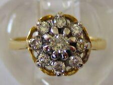 Nr Fine Vtg/Antique 18Ct 18Kt 750 Y/Gold Diamond Cluster, Daisy Ring - Uk Size L