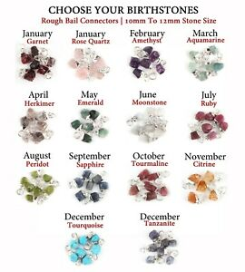 10-12 mm Birthstones Tiny Real Rough Stone Silver Plated Charm Necklace Pendants