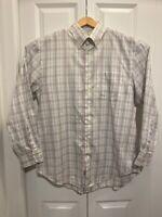 Peter Millar Mens Oxford Shirt White Blue Plaid Long Sleeves Linen Iron Horse L