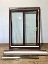 UPVC ROSEWOOD SLIDING DOUBLE GLAZED DOORS-PATIO-EXTERIOR-PVCU-BROWN-WOODGRAIN