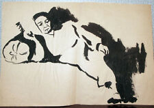 WOMAN ON THE SOFA Two ink drawings by Russian artist A.Gromov