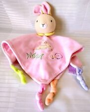 Baby Bow Lovey Security Blanket Bunny Rabbit Rattle Pink Knotted Corners Soft