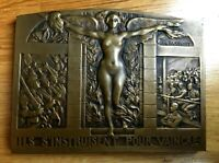 WW I 1914 Nude French Angel First Battle for France Art Nouveau medal Blanchot