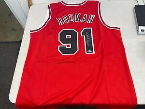 Dennis Rodman #91 Signed Bulls Basketball Jersey Autographed - Beckett COA
