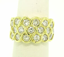 TOP QUALITY 18k Solid Gold 2.50ctw VVS E Diamond Braided BLINDING Wide Band Ring