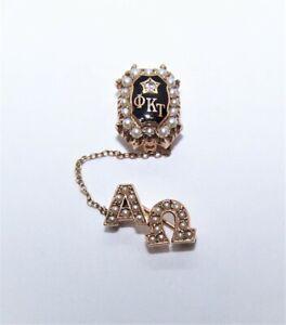 10K Gold Enamel Pearl Diamond Fraternity Pin 4 Phi Kappa Tau - Alpha Omega Guard