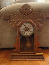 Ingram Gingerbread Mantel Clock 8 day Time & Strike Alarm Working Antique