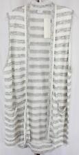 New York & Company Womens Ladies White Striped Sleeveless Cardigan Vest Size L