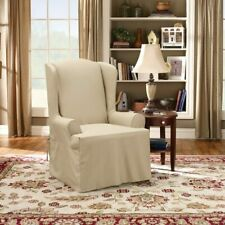 Sure Fit Twill Supreme - Wing Chair Slipcover - Flax (SF37741)