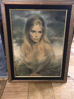 "Vintage Mid Century ""Girl Of Valdarno"" Joseph Wallace King Vinciata Framed Print"