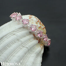 "Hermosa® 925 Sterling Silver Pink Topaz HOT GIRLS GIFTS Chain Bracelet 7.75"""