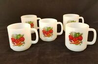 Vintage Glasbake Vegetable Garden Coffee Mugs Spice Of Life Lot Of Five