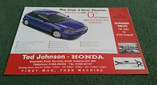 1998 HONDA CIVIC ILLUSION 1.4i COUPE 5 DOOR SE UK TED JOHNSON BARNSLEY BROCHURE