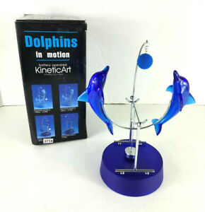 Kinetic Art Dolphins in motion Chrome Plated Steel Sculpture Plastic Play Ball