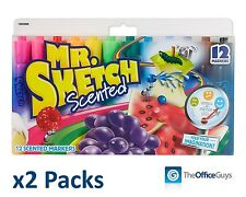 Sanford Mr Sketch Scented Assorted Markers TWO packs of Pk12 FREE Postage AU