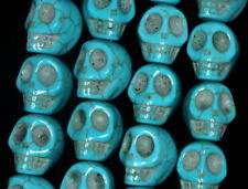"""18X15MM TURQUOISE HOWLITE GEMSTONE BLUE CARVED SKULL HEAD LOOSE BEADS 16"""""""
