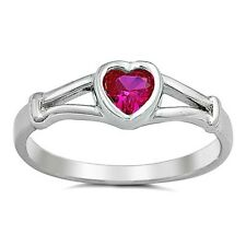 .925 Sterling Silver Ring size 2 Ruby Baby Heart Kids Midi Ladies New j09