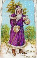 "Ca 2020  ""Purple St Nicholas""  Repro Christmas Holiday Greetings Postcard  - 085"