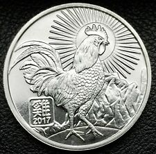2017 Chinese Zodiac Year of The Rooster 1 Troy Ounce .999 Silver Coin (0073)