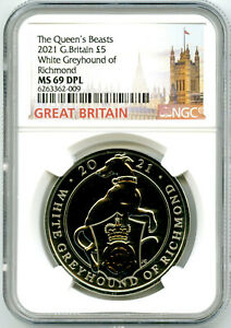 2021 GREAT BRITAIN 5PD QUEEN'S BEASTS NGC MS69 DPL WHITE GREYHOUND OF RICHMOND