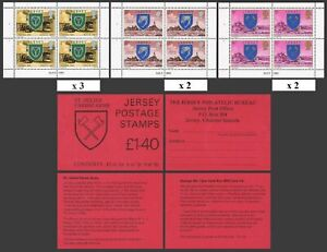 Jersey 138b/141a/143a 1.40GBP booklet,MNH. 1978.Arms of Trinity,Zoo Park,Castle,