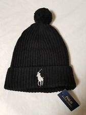 NWT Mens Polo Ralph Lauren Black Big Pony Wool Blend Pom Beanie Cap Hat