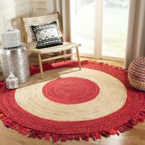 Rug Jute & Cotton Round Natural Floor Braided Home Decor Reversible Modern Rugs