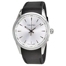 Calvin Klein Bold White Dial Black Leather Mens Watch K5A311C6