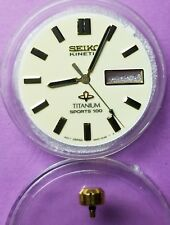 NEW ! LUMINOUS DIAL+HANDS+CROWN SEIKO 5M43-0B69 TITANIUM DAY/DATE KINETIC.