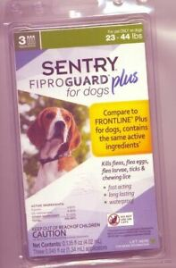 Sentry Fiproguard Plus for Dogs 23-44 pounds Flea & Tick 3 Pack-New