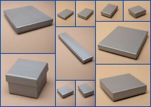 Silver Grey Boxes Flocked Pad Jewellery Gift  Favour Present  Shop Wholesale