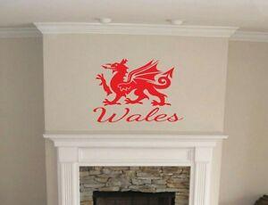 Welsh Dragon Wales wall art sticker home bedroom lounge Games room kitchen Diy
