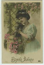 c 1907 New Year Greetings BEAUTY w/ TELEPHONE Lady photo postcard