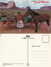 NORTH AMERICAN INDIANS NAVAJO MAIDEN ON THE TRAIL UNUSED COLOUR POSTCARD