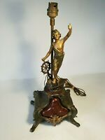 💡 ancienne lampe chevet, bureau statuette en régule & marbre vers 1900 marine