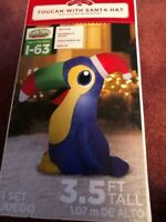 CHRISTMAS AIRBLOWN INFLATABLE TOUCAN WITH SANTA HAT 3.5 FT.TALL NEW
