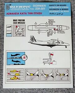 Olympic Aviation Helicopters & Airlines Dornier 228 201 Airline Safety Card