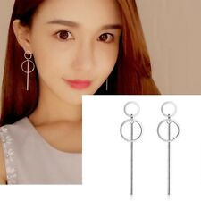 Korean 925 Sterling Women Circle Long Drop Dangle Earrings Gifts.