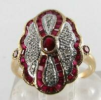 COCKTAIL 9K 9CT GOLD INDIAN RUBY DIAMOND LONG ART DECO INS RING FREE RESIZE